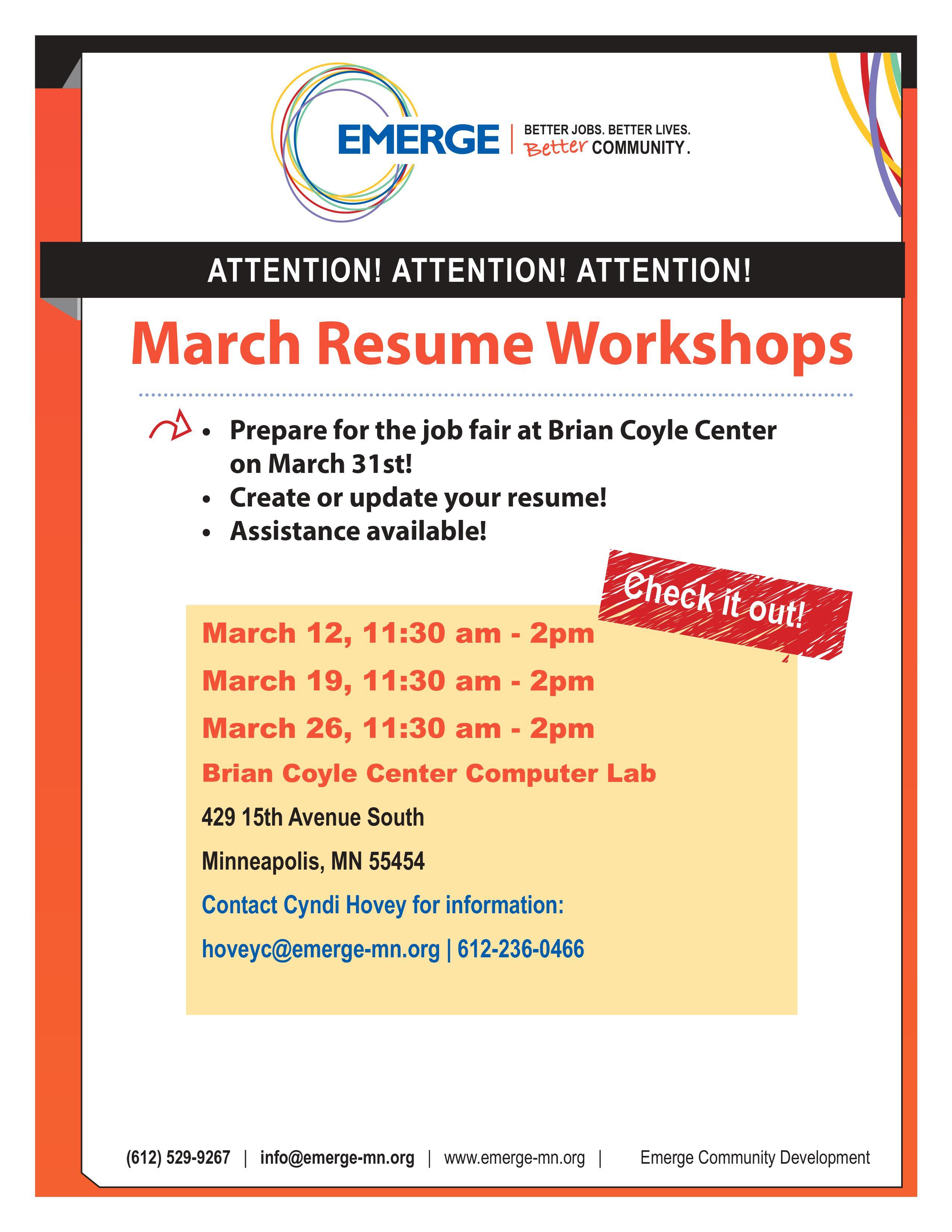 Resume Workshop English Flyer