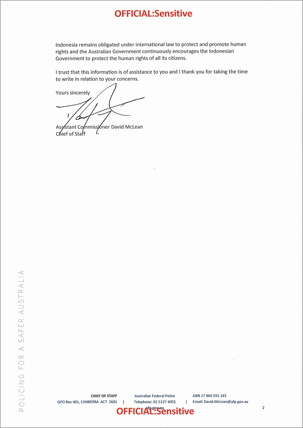 Letter of refusal from AFP p2