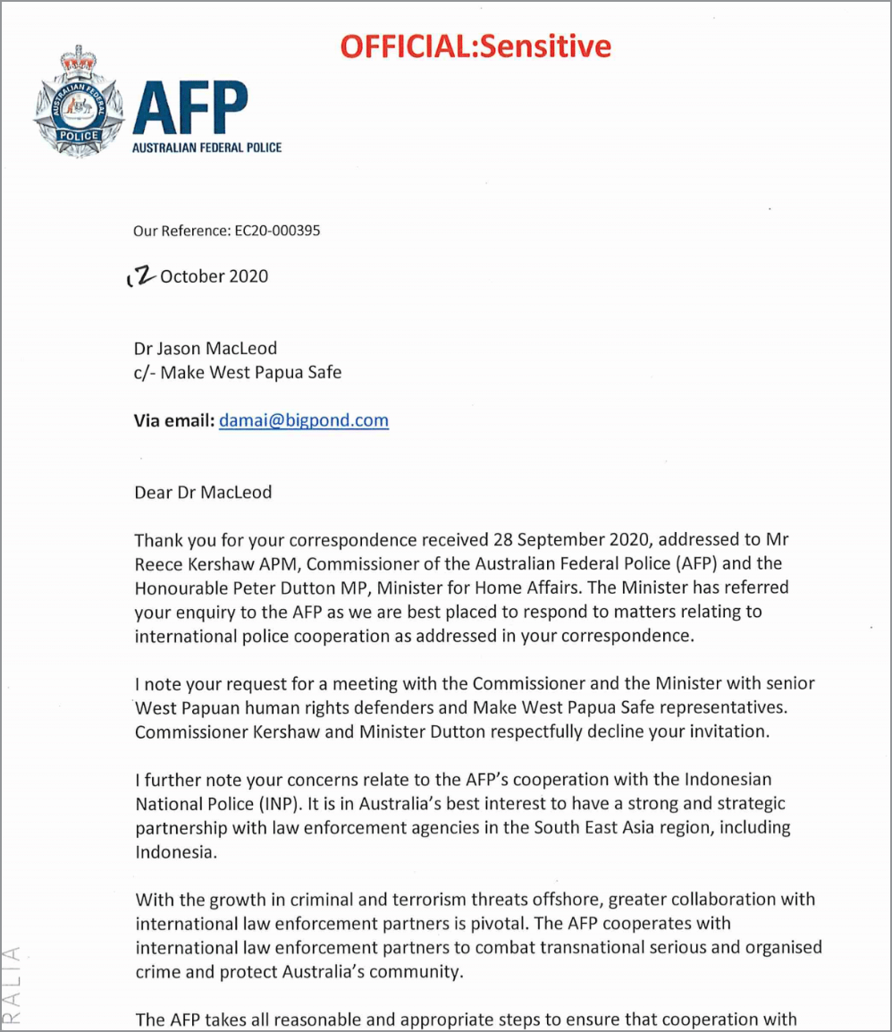 Letter FROM AFP