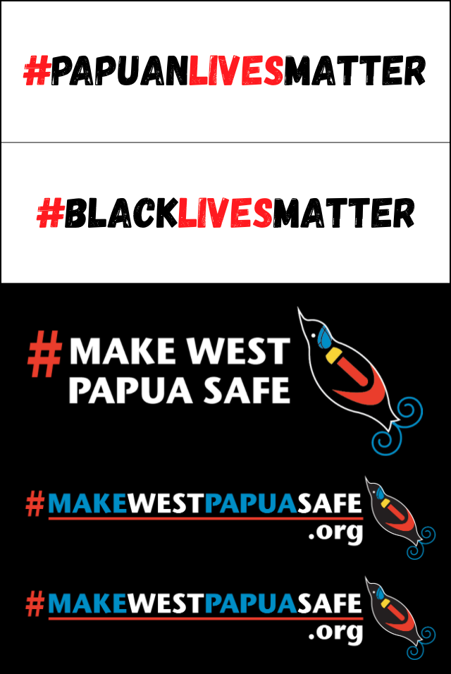 Papuan lives matter Make West Papua Safe logos