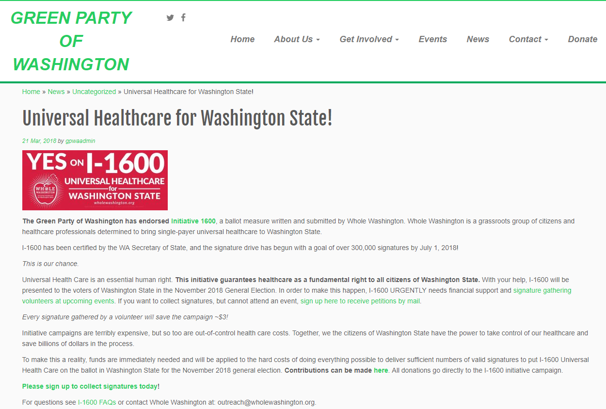 Green Party of Washington State Endorsement