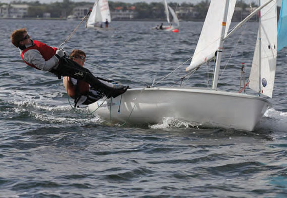 After the ISAF Youth Worlds, Harry Koeppel (helm) and Charles Bocklet (and Megan & Abigail) will likely travel from Ireland to Austria for the I-420 World Championships. © Michael Rudnick