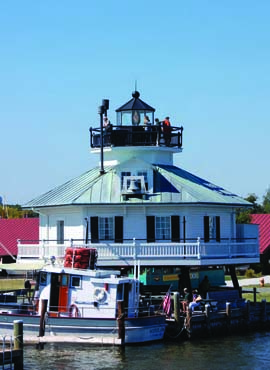 Built in 1879, Hooper Strait Light is one of four surviving screw-pile lighthouses in Maryland. Located on the campus of the Chesapeake Bay Maritime Museum, it offers a panoramic view of St. Michaels and the Miles River. Photo courtesy Chesapeake Bay Maritime Museum