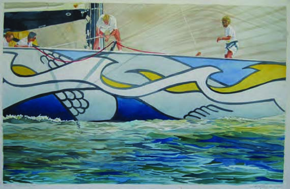 "Marc Castelli, 1995 America's Cup, Trinity and Young America Watercolor on Paper, 13"" x 20"""