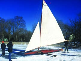 Rigging this classic Herreshoff ice yacht takes almost an hour, as does de-rigging, but a craft capable of sailing at three times the windspeed is worth the effort! © Rod Clingman