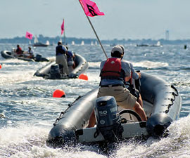 The American Yacht Club Safety & Rescue Committee simulating a high speed rescue © Tom Young