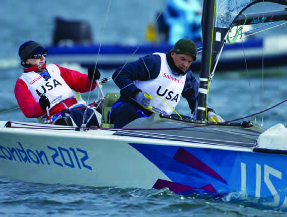 Using a specially-designed lever-actuated steering system, Jen French and crew JP Creignou won a Silver Medal in the doublehanded SKUD-18 at the 2012 Paralympic Games. © ISAF