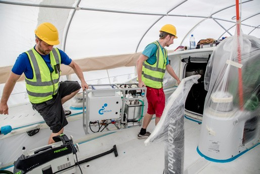 Data collection tools beingloaded on to Volvo Race Boat