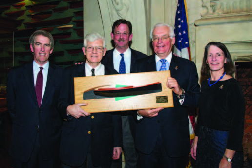 John Rousmaniere after receiving the William P. Stephens Award at the New York Yacht Club. Pictured (left to right) are Samuel W. Croll III, John Rousmaniere, Steve White, Barclay Collins and Sheila McCurdy. © Dennis Murphy/Mystic Seaport