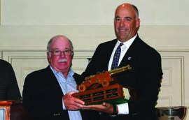 Peter Reggio (left) accepts the Harman Hawkins Award from US Sailing Race Administration Chair Hank Stuart. © US Sailing