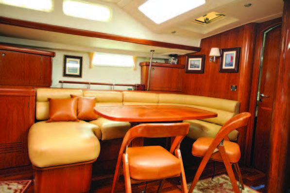 These Ultraleather dinette cushions (and contrasting pillows) provide a luxurious look and feel. © islandnautical.com