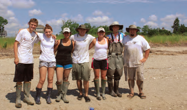 Sacred Heart University summer research assistants, graduate and undergraduate students are doing much of the restorative field work at Stratford Point.