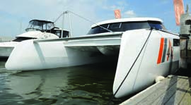 The Aeroyacht Alpha 42 is the first cruising catamaran with reverse angle, wave piercing bows. © aeroyacht.com
