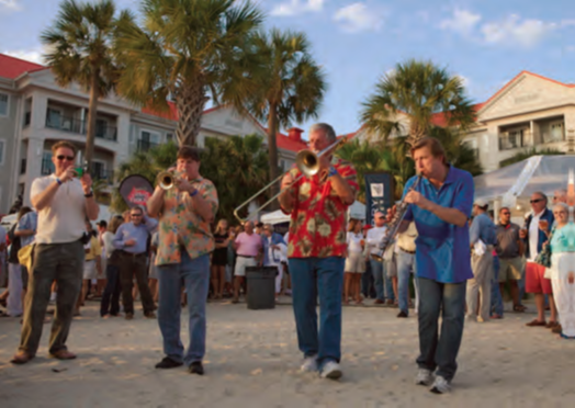 Shoreside entertainment, like these Dixieland musicians, is an integral part of at Sperry Top-Sider Charleston Race Week, the largest keelboat regatta in the Western Hemisphere. © Meredith Block