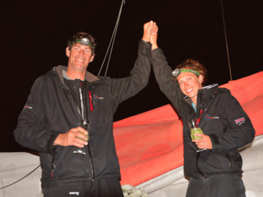 Rob and Hannah savor well-earned caipirinhas in Brazil after being at sea for a month. © Jean-Marie Liot / DPPI/TJV13