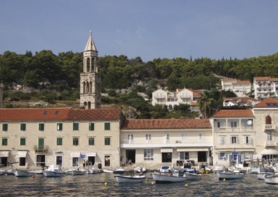 The harbor at Hvar on the island of Otok Hvar