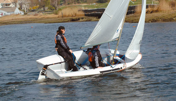 Fairfield Prep Sailing Team members Matt Jaykus (helm) and Ryan Belger execute a smooth roll tack during a practice session at Pequot Yacht Club in Southport, CT.