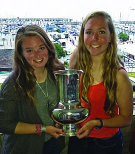 Megan Grapengeter-Rudnick & Haley Fox were the #1 Ladies team in the 158-boat I420 fleet at Kiel Week. © Janet Grapengeter