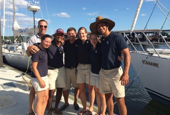 Second class cadets (l – r) LT Anderson Ogg, Jess Mulroy, Tharindu Wathuthanthri, Matt Chapman, Hayley Smith, Alyssa Milanese and Ricardo Rodriguez in port during a recent cruise.