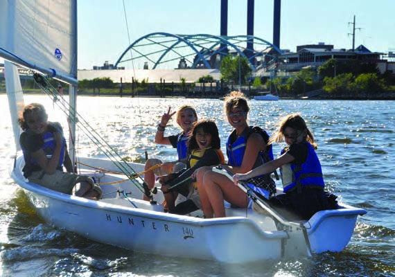 Community Boating Center students enjoy after-school sailing in Providence, RI. © John O'Flaherty