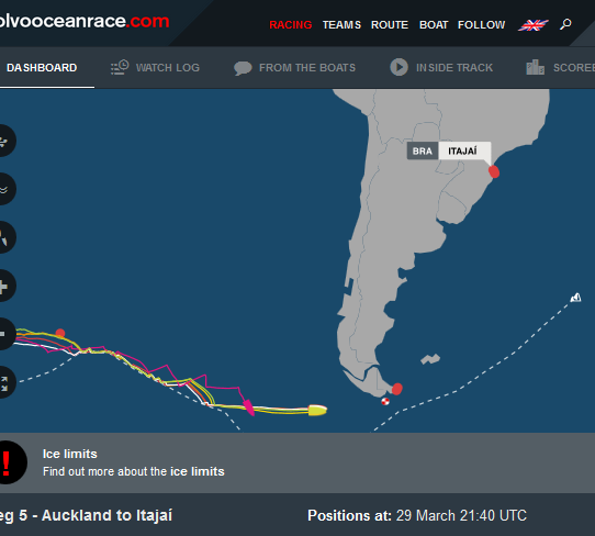volvo ocean race leg 5 positions approaching cape horn