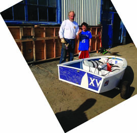 Jim Koehler presents J.C. Hermus with a custom Opti.