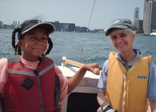 Joan Thayer with AdventureSail skipper