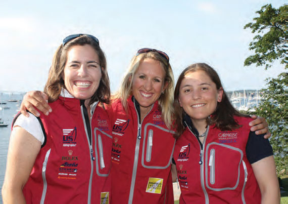 Junior sailors have a unique opportunity to meet (l - r) Molly Vandemoer, Anna Tunnicliffe and Debbie Capozzi and several other members of the US Sailing Team Sperry Top-Sider at Larchmont Yacht Club on July 14. © Marni Lane