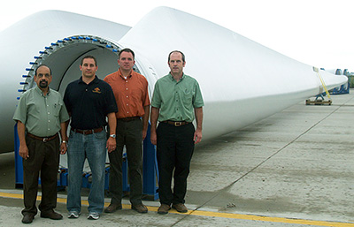 Researchers at Iowa State Univesity with wind blade