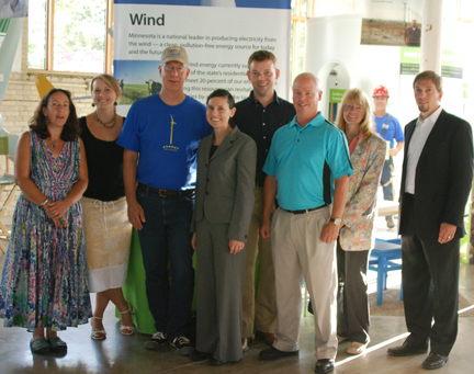 Wind Energy Center Partners from Wind on the Wires, Thomsen Nybeck, P.A, AMEC and Windustry staff enjoy the Eco Experience Grand Opening.