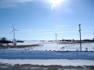 Second Wind Turbine at University of Minnesota, Morris. Wind energy now provides an average of 70 percent of campus electricity