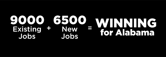 Graphic: 9000 Existing Jobs + 6500 New Jobs = WINNING for Alabama