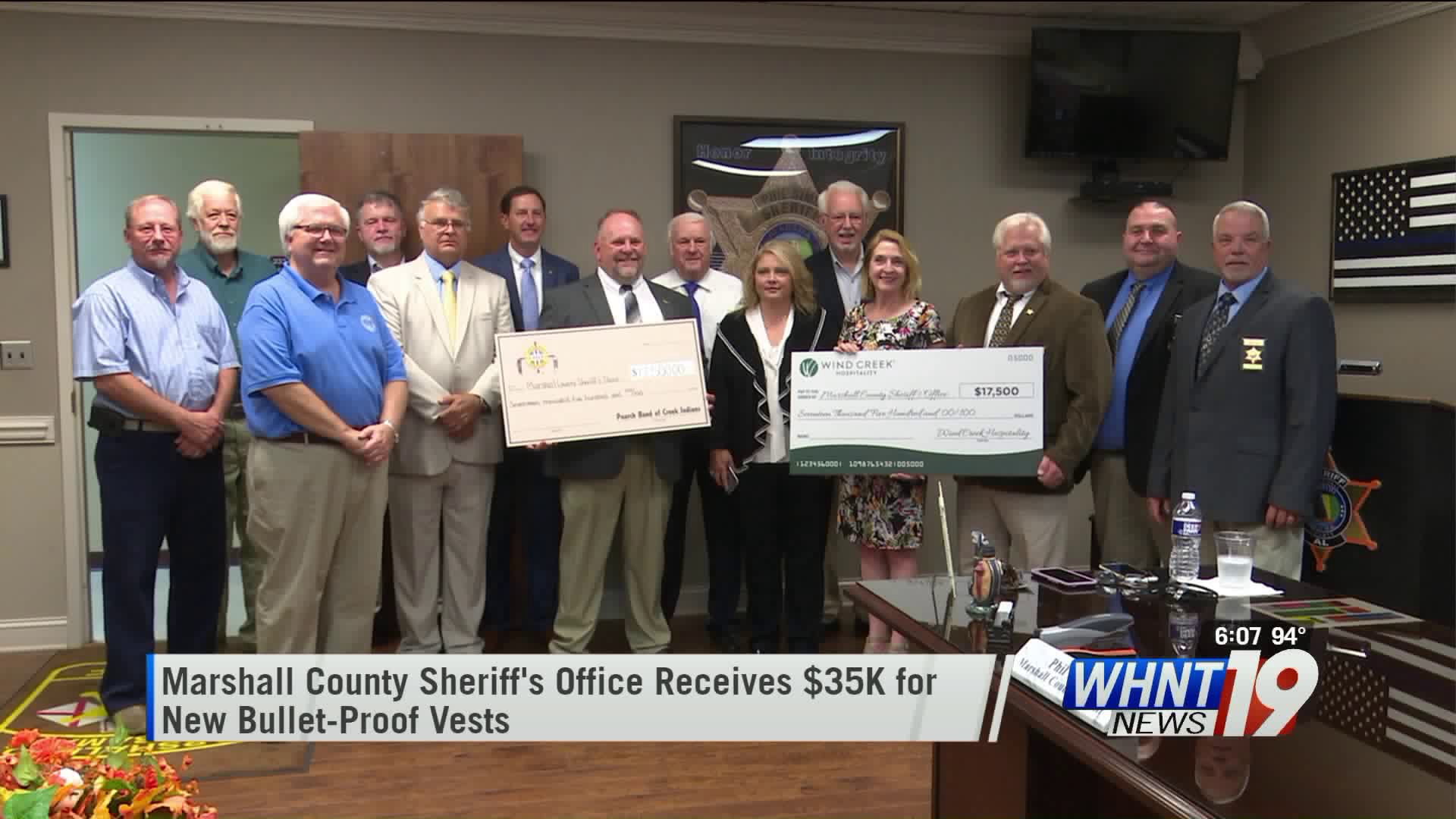 Thumbnail: Poarch Band of Creek Indians donates $35,000 for bullet-proof vests to Marshall County Sheriff's Office - WHNT News 19
