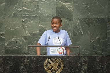 The youth representative addresses the Opening Ceremony of the High-Level Event for the Signature of the Paris Agreement
