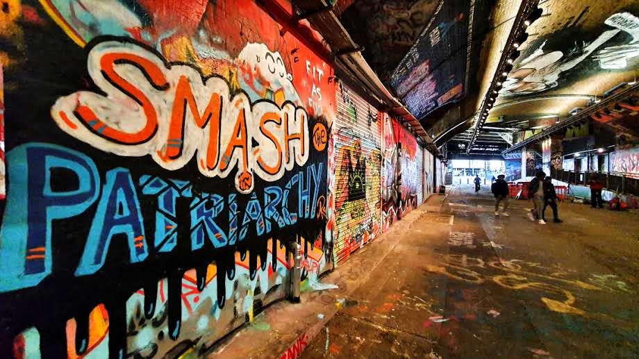 Graffiti Artwork at Leake Street reading Smash the Patriarchy - by Anja Kulessa