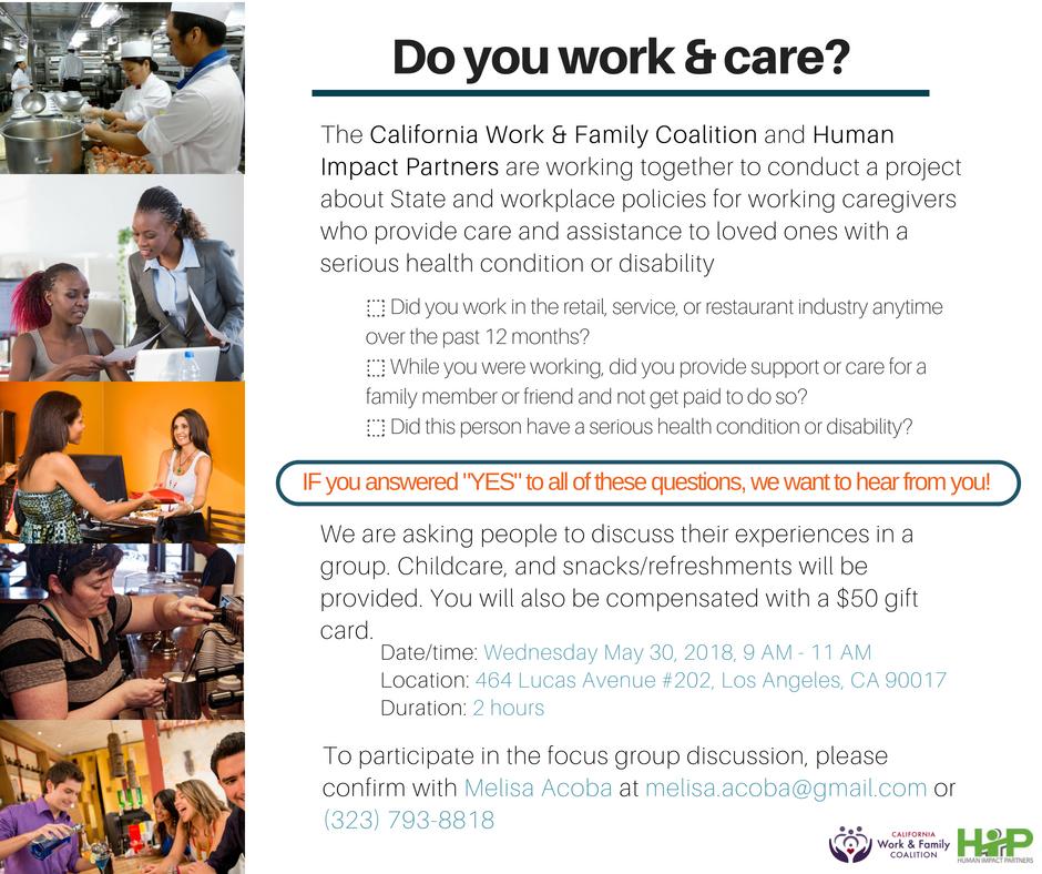 Caregiver Focus Groups - Los Angeles - California Work