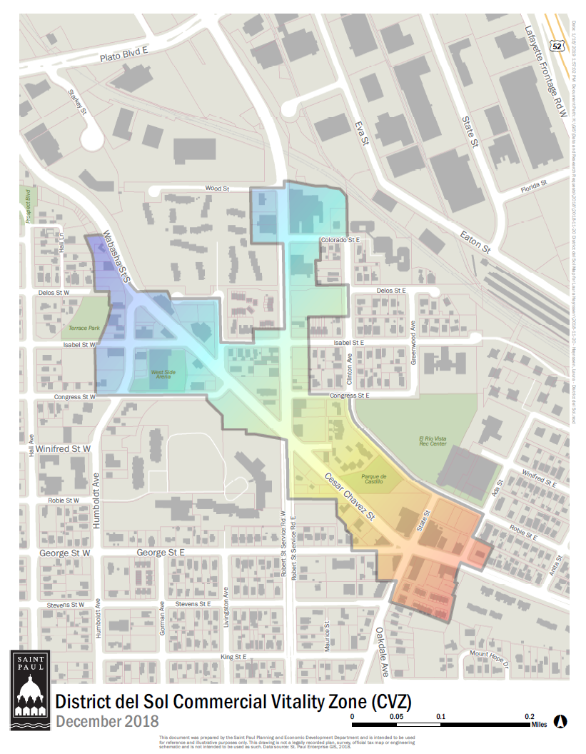 A map with the boundaries of District del Sol zone highlighted win a rainbow.