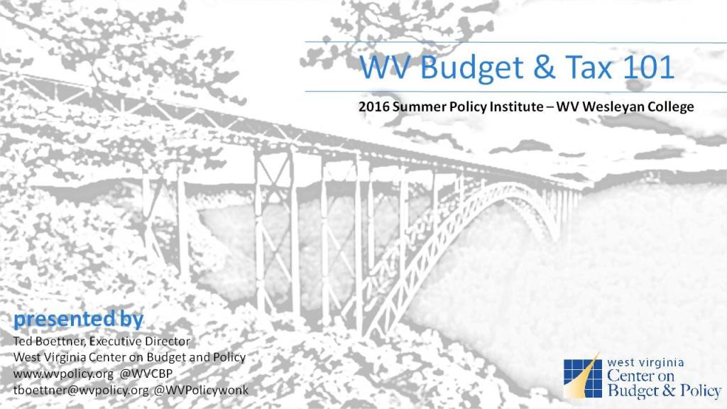 SPI Presentation Boettner Budget & Tax 101