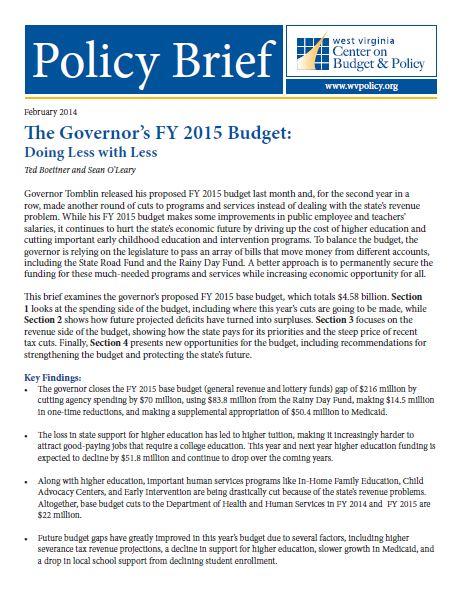 FY 2015 Budget Brief