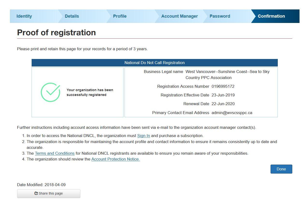 Do Not Call Registration