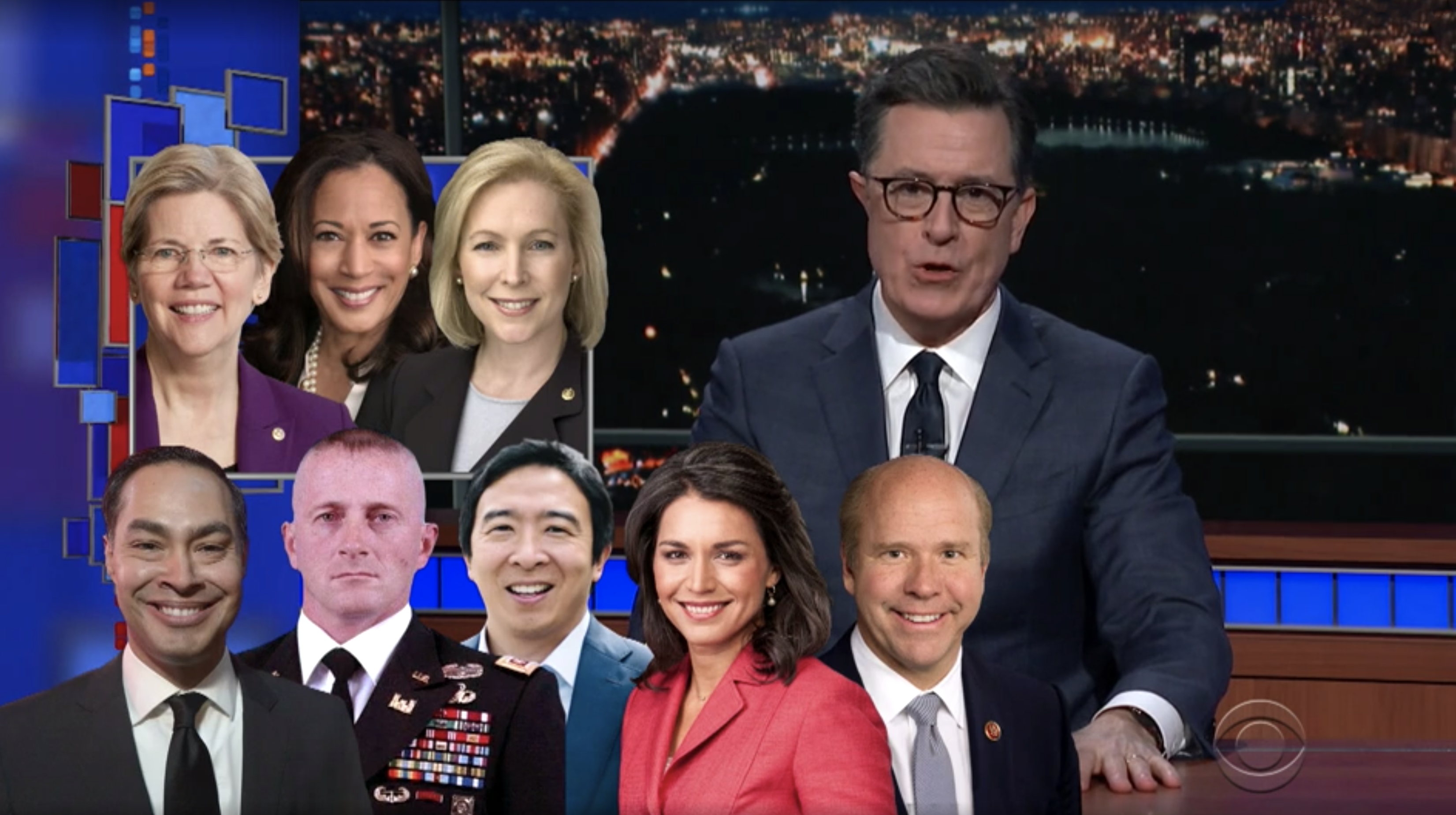 Stephen Colbert discusses the 2020 Presidential field, with headshots of each candidate on screen