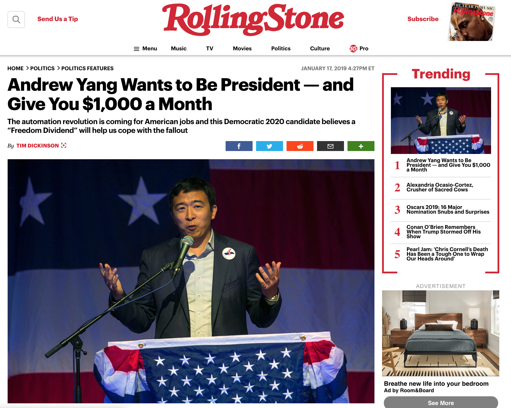 Rolling Stone magazine publishes an interview with Andrew Yang