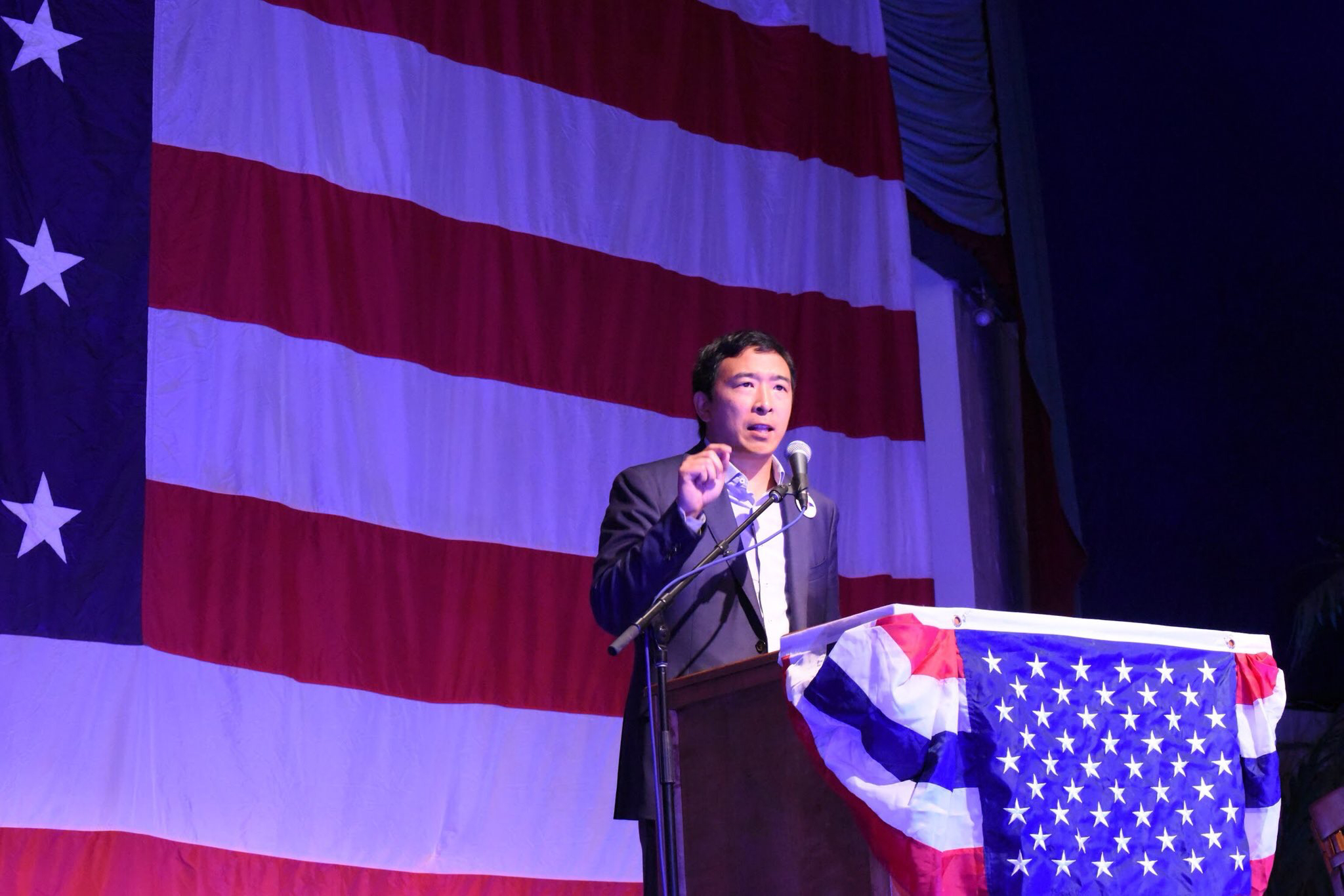 Andrew Yang speaking at the Democratic Wing Ding