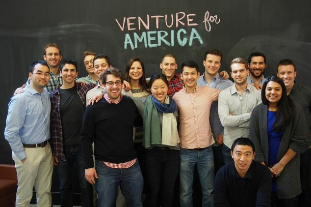 Andrew Yang poses with a Venture for America fellows class