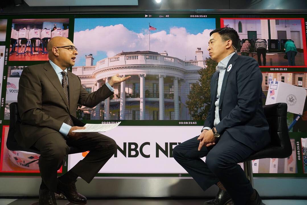 Andrew Yang appears on MSNBC's Ali Velshi