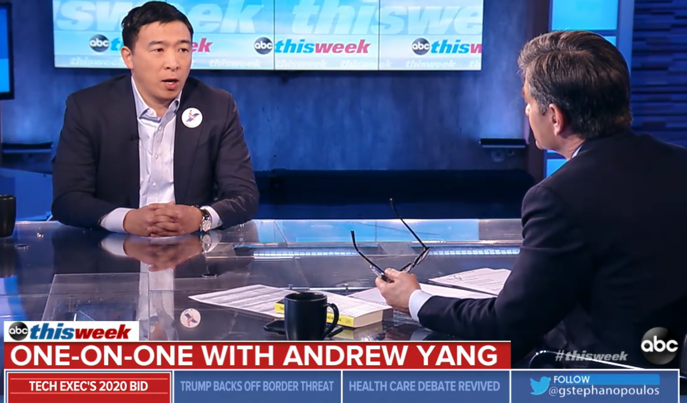 Andrew Yang addresses his campaign, automation, and other policies with George Stephanopoulos