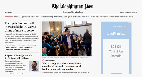 Andrew Yang on the front page of the Washington Post.