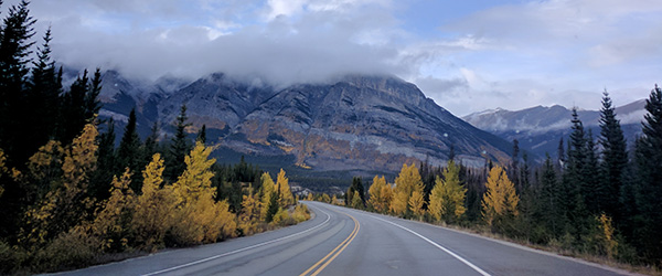 Driving down Alberta's Icefields Parkway