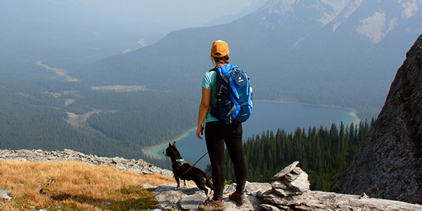 Person standing with their dog on a leash overlooking a mountain vista