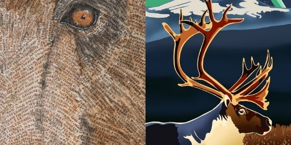 Grizzly bear painting by Erik Fremstad close-up (left) and painting of a mountain caribou by Brandon Cameron (right)
